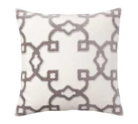 """Trellis Velvet Applique Pillow Cover - 20"""" sq. - Gray - Insert sold separately - Pottery Barn"""