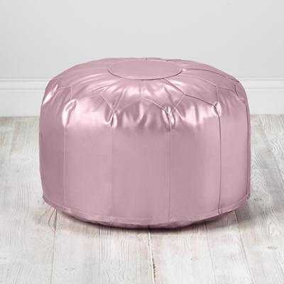 Pink Metallic Gold Faux Leather Pouf - Land of Nod