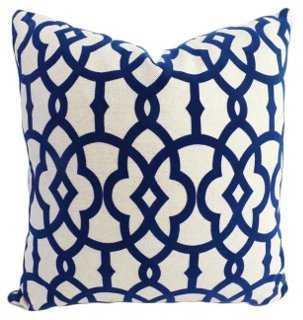 Faye 20x20 Cotton-Blend Pillow, Navy - One Kings Lane