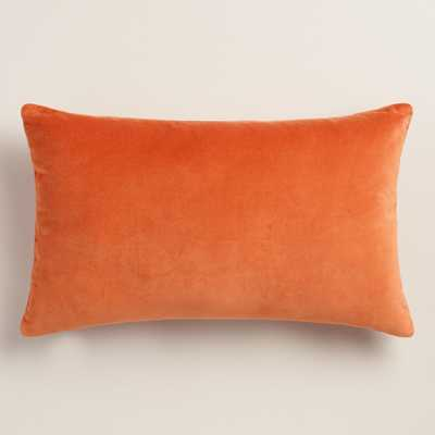 "Orange Velvet Lumbar 12""W x 20""L Pillow-Polyster Insert - World Market/Cost Plus"