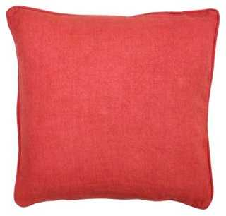 Solid 22x22 Linen Pillow, Red - One Kings Lane