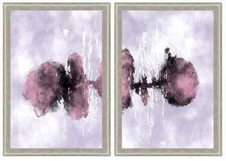 "Purple Watercolor Ink Diptych (Set of 2) - 24"" x 28"" - Framed - One Kings Lane"
