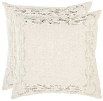 "CHAINLINK PILLOW - SET OF 2-18""Hx18""Wx4""D-White-Fiber insert - Home Decorators"