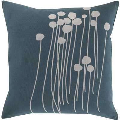 Meadow Cotton Throw Pillow, Teal, 18x18, Polyester fill - AllModern