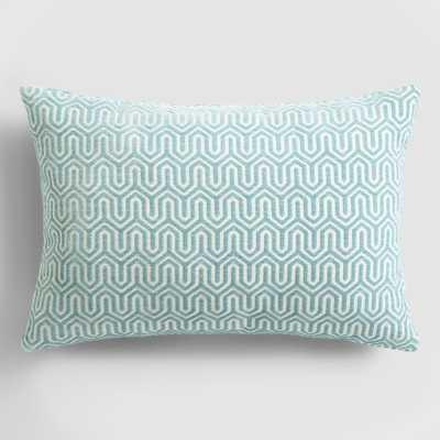 "Ocean Blue Geo Chenille 20""W x 14""H Lumbar Pillow without insert - World Market/Cost Plus"