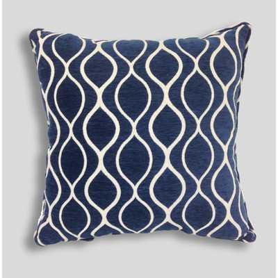 """Gemma Chenille Geometric Toss Sapphire Throw Pillow - 20"""" H x 20"""" W - Polyfill - Wayfair"""