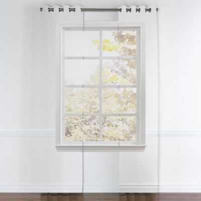 GROMMET DRAPERY PANEL | in fancy fretwork - silver - Loom Decor