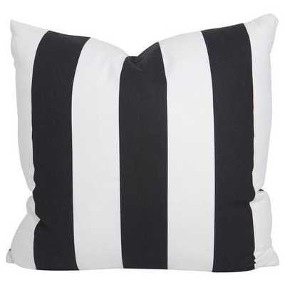 "Black Slub and White Stripe Pillow - 20"" x 20""- Down insert included - Society Social"