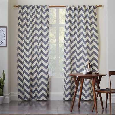 """Cotton Canvas Zigzag Curtain - Feather Gray - 96""""L - West Elm"""