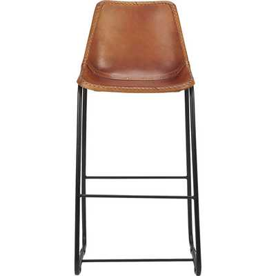 "Roadhouse leather bar stool - 30"" - CB2"