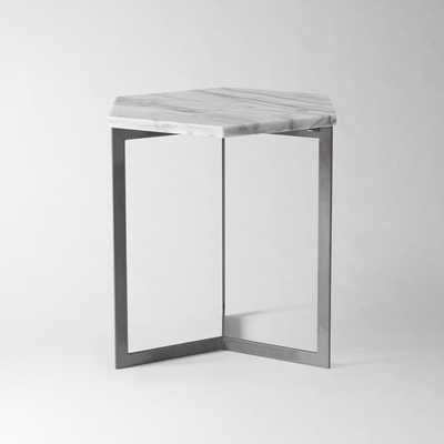Hex Side Table, White Marble/Raw Steel - West Elm