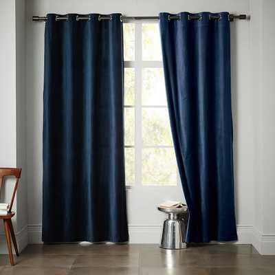 Velvet Grommet Curtain- Regal Blue - West Elm