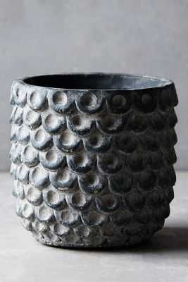 Scalloped Cement Pot-Small-Grey - Anthropologie