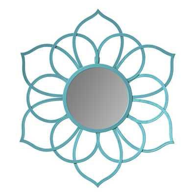 Brienne Metal Flower Wall Mirror - Teal - AllModern
