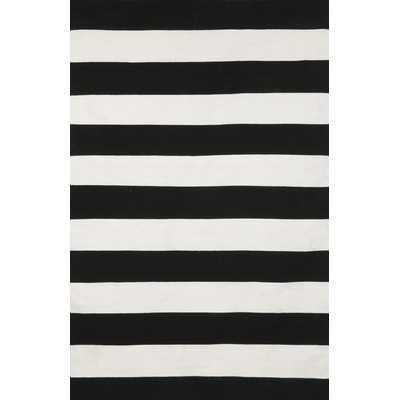 Sorrento Rugby Stripe Black & Ivory Indoor/Outdoor Area Rug - Wayfair