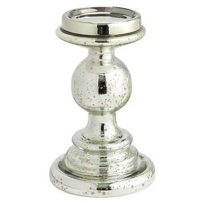 Mercury Glass Pillar Stands - Antiqued Silver- Small - Pier 1