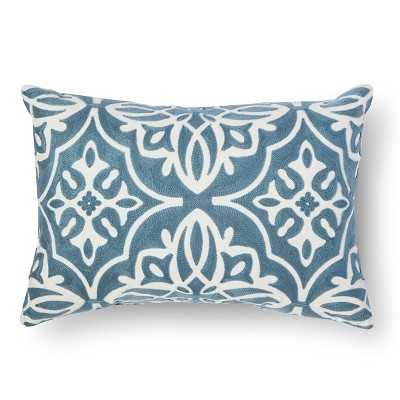 "Threshold â""¢ Scroll Embroidered Lumbar Throw Pillow - washed blue - Target"