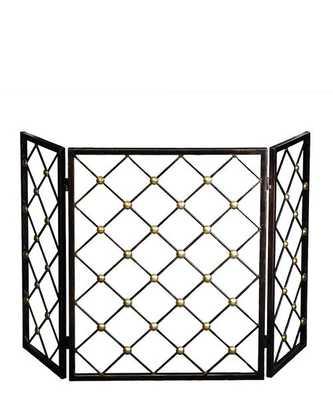 Bronze & Brass 3-Panel Fireplace Screen - High Street Market