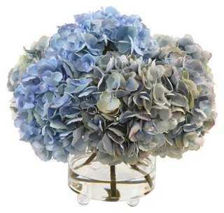 """15"""" Hydrangea in Glass Vase, Blue - One Kings Lane"""