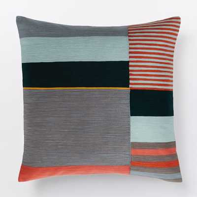 "Margo Selby Crewel Colorblock Pillow Cover - Red, 20"", no insert - West Elm"