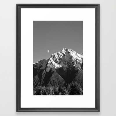 "Moon Over Pioneer Peak B&W - 20"" x 26"" - Framed - Society6"