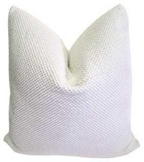 White Nubby Chenille & Linen Pillow - One Kings Lane