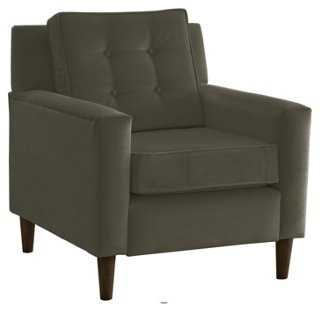 Winston Chair, Pewter Velvet - One Kings Lane
