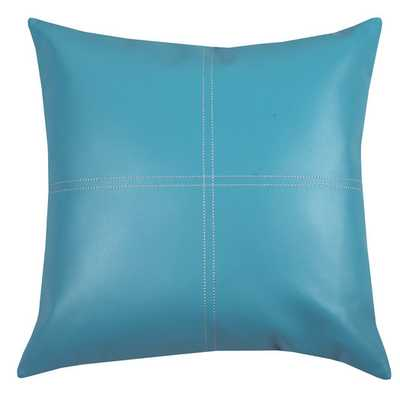 Urban Loft Fun Faux Leather Throw Pillow - Teal, 18x18, With Insert - AllModern