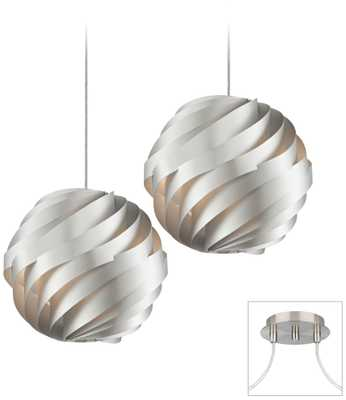 Silver Waves Brushed Nickel Double Multi Light Pendant - Lamps Plus