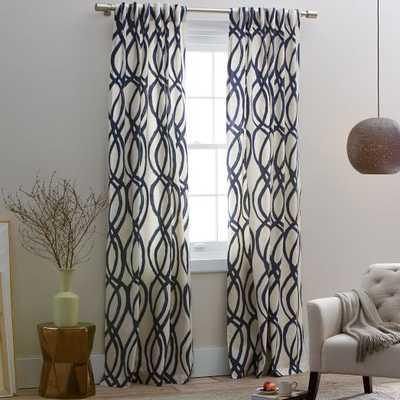 "Cotton Canvas Scribble Lattice Curtain - Midnight Blue - 108""l x 48""w - West Elm"