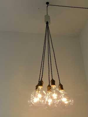 Cluster Chandelier 5 Pendants w/Bulbs - Etsy