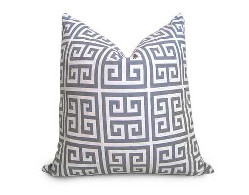 "Designer Decorative Greek Key Pillow Cover, Gray, Ivory - 18"" x 18"" - Insert Sold Separately - Etsy"