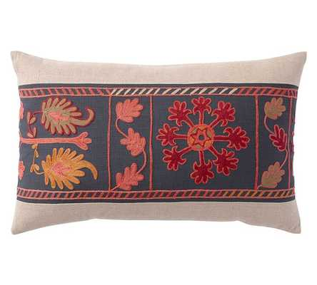 """PIECED FLORAL EMBROIDERED 16"""" x 26"""" LUMBAR PILLOW COVER -  insert sold separately. - Pottery Barn"""