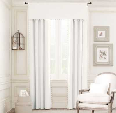 pom-pom linen-cotton drapery panel - RH Baby & Child