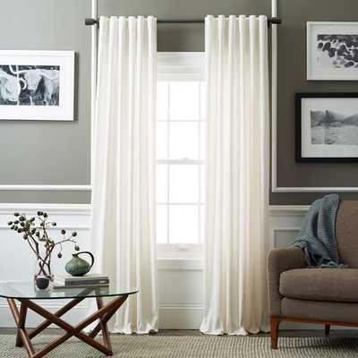 "Velvet Pole Pocket Curtain - Ivory, 108"" - West Elm"