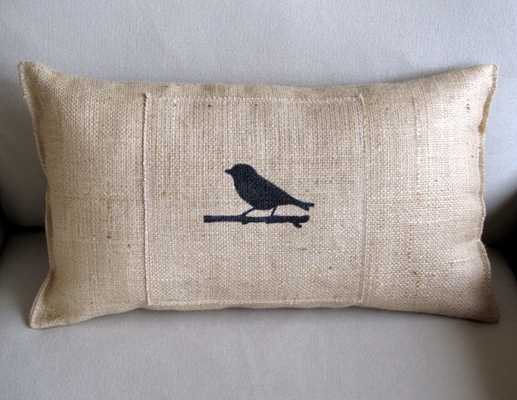 tweet birdie hand painted lumbar pillow - Etsy