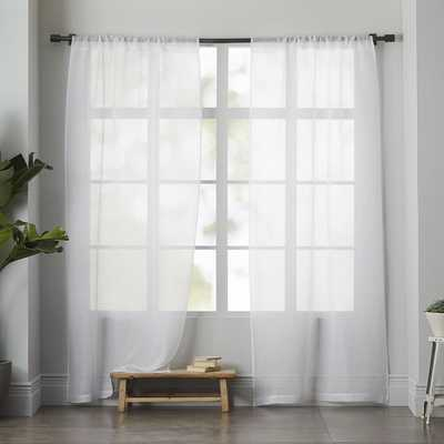 "Sheer Linen Curtain, Set of 2, White, 48""x124"" - West Elm"