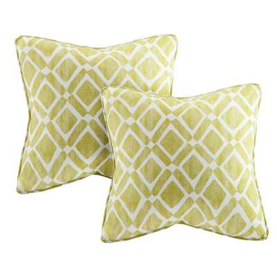 "Delray Diamond Printed Throw Pillow (set of 2) - Green - 20"" H x 20"" W x 5"" D - Polyester  insert - Wayfair"