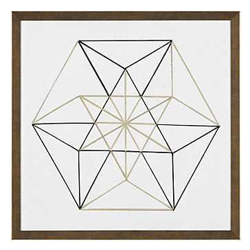 Black and Gold Geo 6 - 26''W x 26''H - Framed (Gold) - Z Gallerie