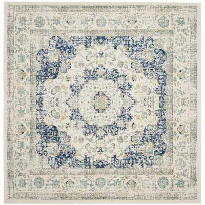Ferry Ivory & Blue Area Rug - 5' x 5' - Wayfair
