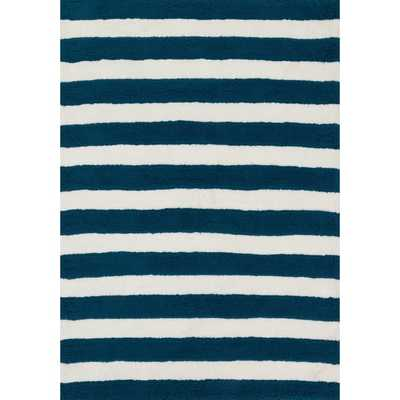 Hand-tufted Riley Navy/ White Striped Shag Rug (5'0 x 7'0) - Overstock