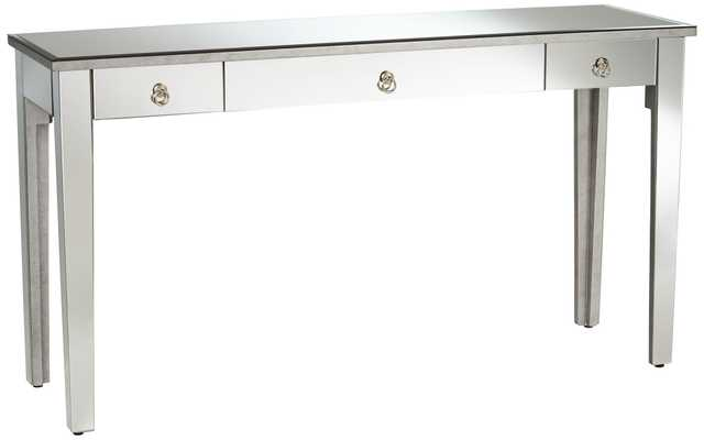 Daenilia Transitional Gold 3-Drawer Mirror Console Table - Lamps Plus