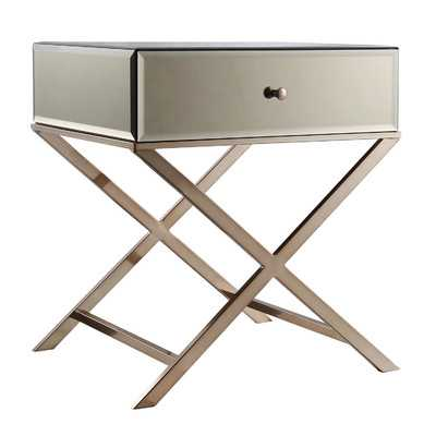 Sagaponack 1 Drawer End Table-Champagne Gold Plated - Wayfair