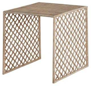 Jali Wood-Top Side Table, Cream - One Kings Lane
