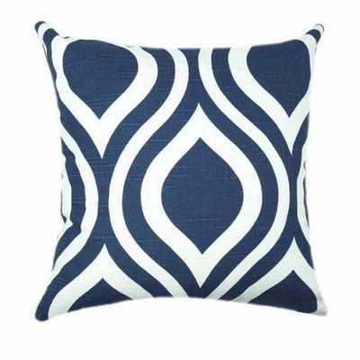 "Emily Navy Blue Ogee Pillow - 18"" x 18""  - Insert Sold Separately - landofpillows.com"