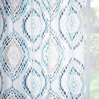 Cotton Canvas Mosaic Medallion Curtain - Blue Lagoon - West Elm