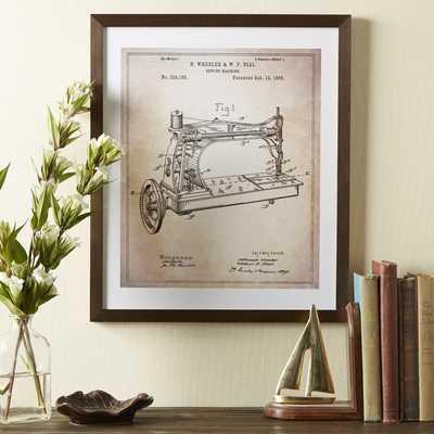 Sewing Machine Framed Blueprint - 17x20 - Framed - Birch Lane