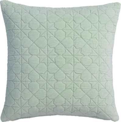 "august quilted mint 16"" pillow with down-alternative insert - CB2"