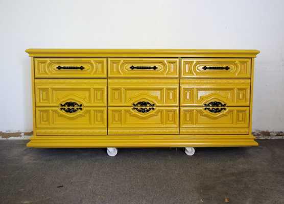 70s Basset Hollywood Regency Carved Front Dresser - Etsy