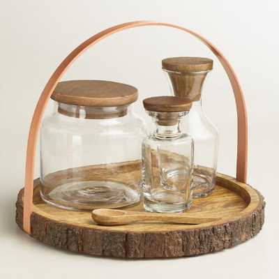 Glass Storage Bottle Set with Rustic Wood Counter Caddy - World Market/Cost Plus